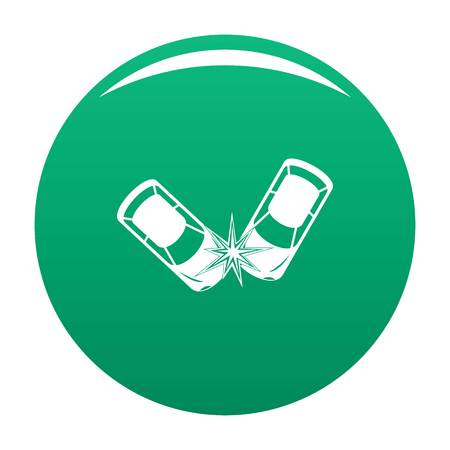 Hard collision icon vector green