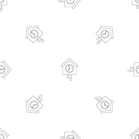 Cuckoo clock pattern seamless vector repeat geometric for any web design