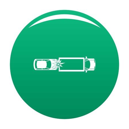 Car injury icon vector green Illustration
