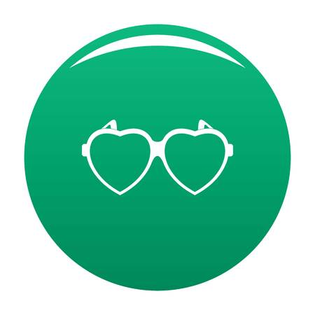 Heart eyeglasses icon vector green