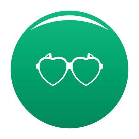 Heart eyeglasses icon vector green
