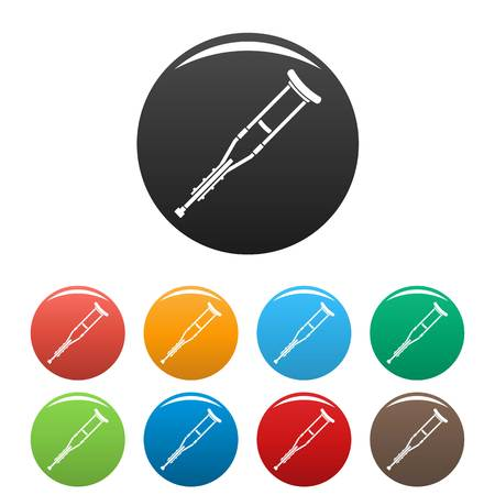 Wood crutch icons set 9 color vector isolated on white for any design Illusztráció