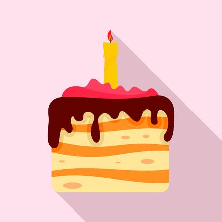 Birthday cake icon. Flat illustration of birthday cake vector icon for web design Ilustrace