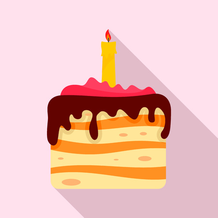 Birthday cake icon. Flat illustration of birthday cake vector icon for web design Illustration