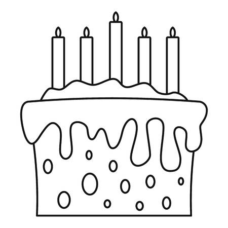 Gift cake icon. Outline gift cake vector icon for web design isolated on white background