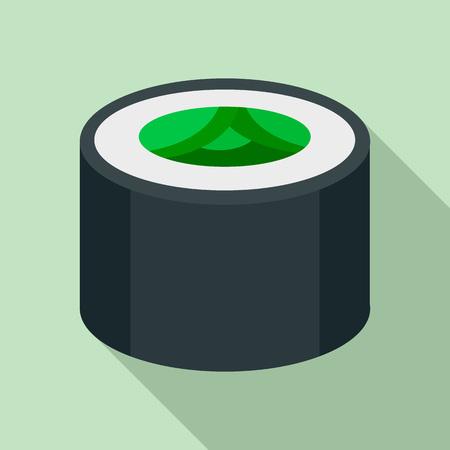 Vegan sushi roll icon. Flat illustration of vegan sushi roll vector icon for web design