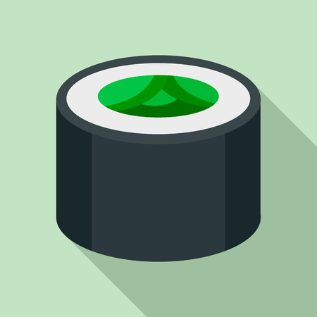 Vegan sushi roll icon. Flat illustration of vegan sushi roll vector icon for web design