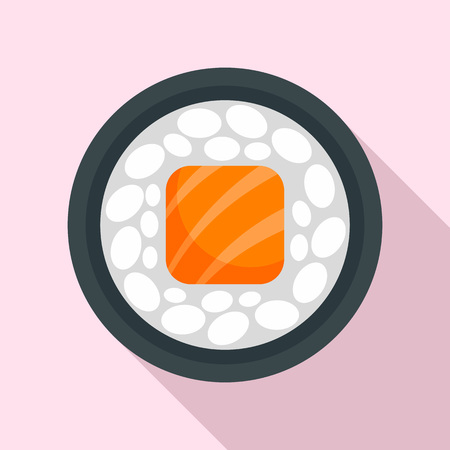 Salmon sushi roll icon, flat style