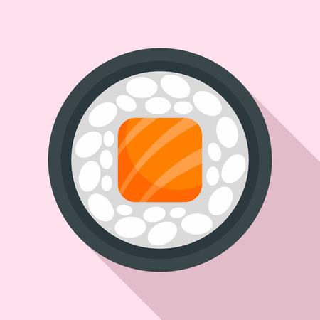 Salmon sushi roll icon, flat style