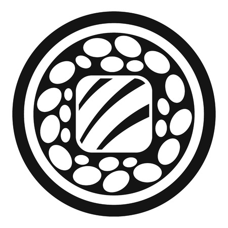 Salmon sushi roll icon, simple style