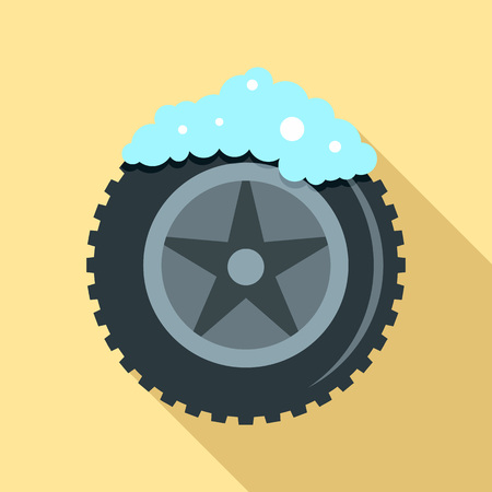 Wash car tire icon. Flat illustration of wash car tire vector icon for web design Banco de Imagens - 127724196