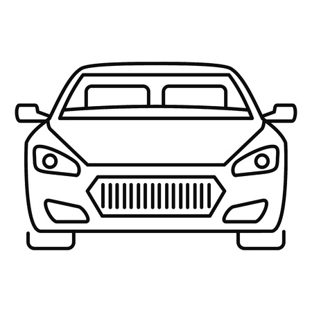 Front modern car icon. Outline front modern car vector icon for web design isolated on white background