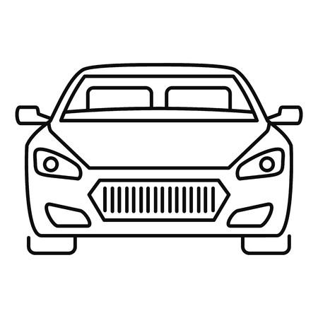 Icône de voiture moderne avant. Contours avant l'icône vecteur voiture moderne pour la conception web isolé sur fond blanc