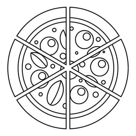 Four cheeses pizza icon, outline style