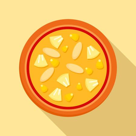 Vegan pizza icon, flat style Vector Illustration