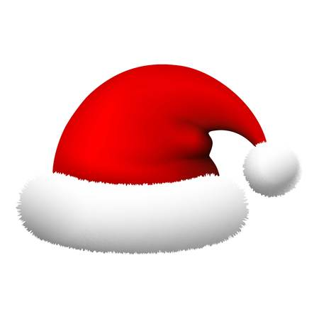Santa hat icon. Realistic illustration of santa hat vector icon for web design isolated on white background