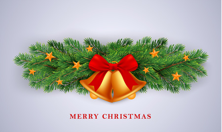 Merry Christmas gold bells concept background. Realistic illustration of merry Christmas gold bells vector concept background for web design