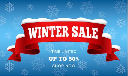 Big winter sale concept background. Realistic illustration of big winter sale vector concept background for web design