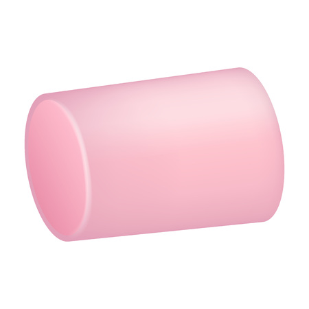 Pink marshmallow icon. Realistic illustration of pink marshmallow vector icon for web design isolated on white background