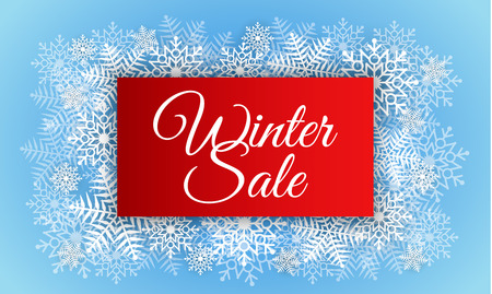 Red winter sale concept background, realistic style Stock Photo