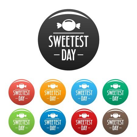 Bonbon candy sweet icons set color