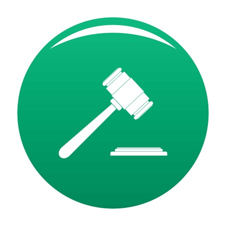 Auction gavel icon vector green