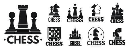 Chess game   set, simple style Illustration