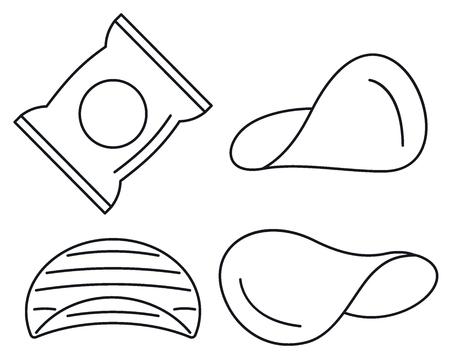 Jeu d'icônes de puces. Ensemble de contours d'icônes vectorielles de puces pour la conception web isolé sur fond blanc