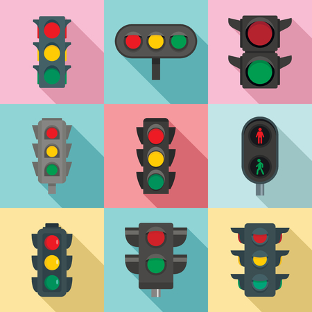Traffic lights icon set. Flat set of traffic lights vector icons for web design Vettoriali