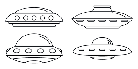 UFO spaceship icon set. Outline set of UFO spaceship vector icons for web design isolated on white background