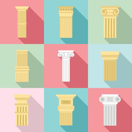 Conjunto de iconos de pilar, estilo plano Ilustración de vector