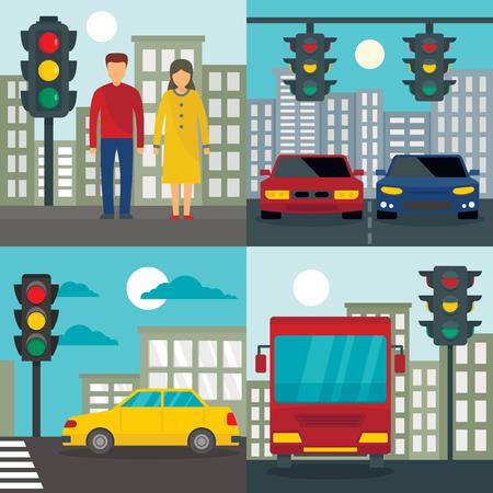 Traffic lights semaphore banner set. Flat illustration of traffic lights semaphore vector banner set for web design