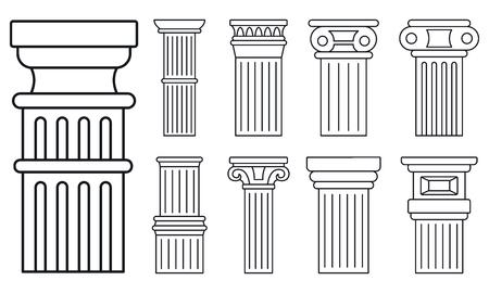 Ancient column icon set, outline style