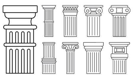 Ancient column icon set, outline style
