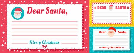 Santa letter banner set, flat style