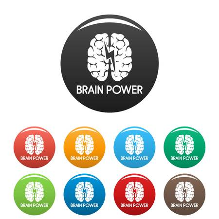 Light brain power icons set color