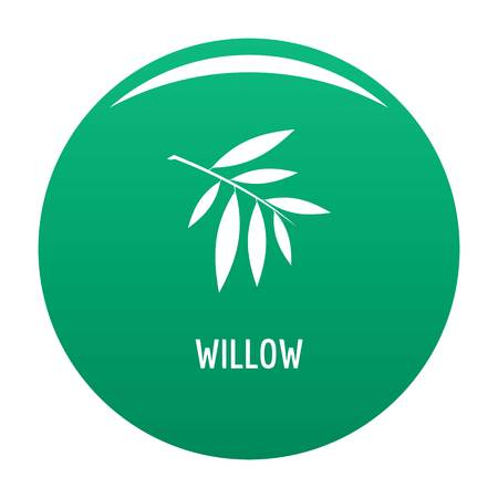 Willow leaf icon. Simple illustration of willow leaf vector icon for any design green Illustration
