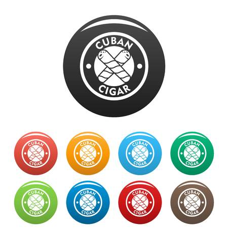 Cuban fresh cigar icons set color Vectores