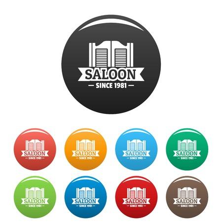 Saloon door icons set color