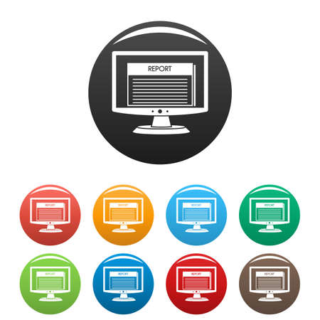 Digital tax report icons set 9 color vector isolated on white for any design Illustration