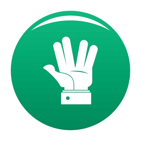 Hand hello icon. Simple illustration of hand hello vector icon for any design green
