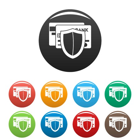 Protected credit card icons set color