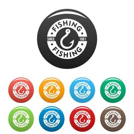 Fishing hook club icons set color
