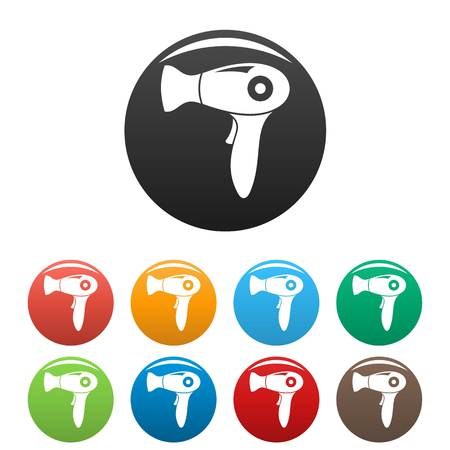 Fashion dryer icons set color