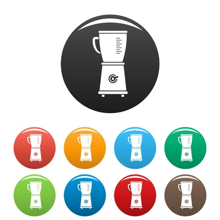 Food blender icons set 9 color vector isolated on white for any design