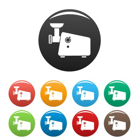 Meat grinder machine icons set 9 color vector isolated on white for any design