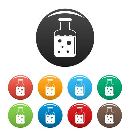 Chemical substance pot icons set 9 color vector isolated on white for any design Ilustração