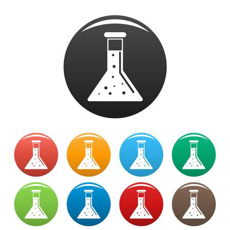 Conic chemical pot icons set 9 color vector isolated on white for any design
