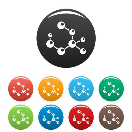 Molecule formula icons set color