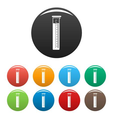 Measurement test tube icons set 9 color vector isolated on white for any design